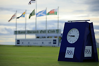 Clock on 1st tee during day 1 of the Boys' Home Internationals played at Royal Dornoch, Dornoch, Sutherland, Scotland. 07/08/2018<br /> Picture: Golffile | Phil Inglis<br /> <br /> All photo usage must carry mandatory copyright credit (&copy; Golffile | Phil Inglis)
