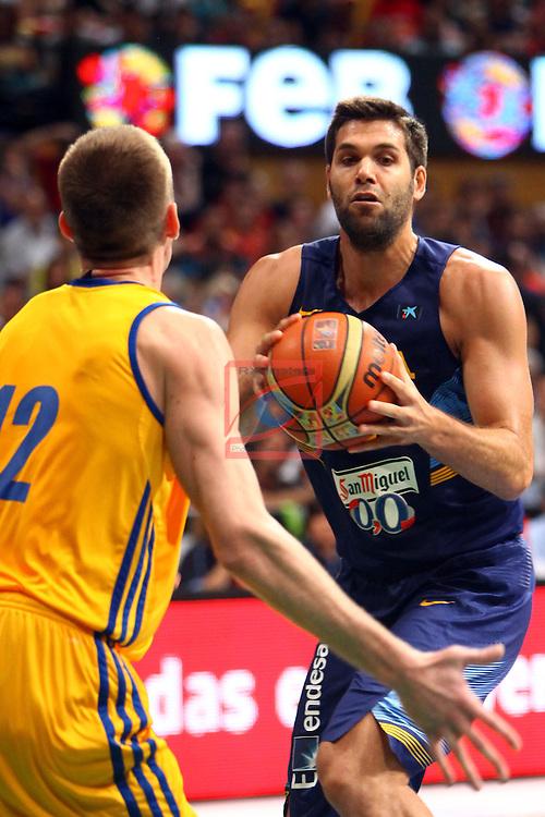 Badalona International Basketball Tournament.<br /> Spain vs Ukraine: 71-63.<br /> Felipe Reyes.