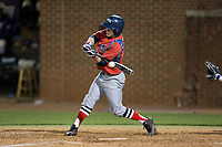 Jesse Uttendorfer (2) of the NJIT Highlanders makes contact with the baseball during game two of a double-header against the High Point Panthers at Williard Stadium on February 18, 2017 in High Point, North Carolina.  The Highlanders defeated the Panthers 4-2.  (Brian Westerholt/Four Seam Images)