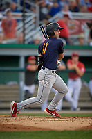 State College Spikes David Vinsky (11) bats during a NY-Penn League game against the Batavia Muckdogs on July 3, 2019 at Dwyer Stadium in Batavia, New York.  State College defeated Batavia 6-4.  (Mike Janes/Four Seam Images)