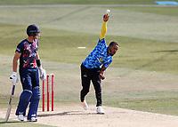 Chris Jordan bowls for Sussex during Kent Spitfires vs Sussex Sharks, Vitality Blast T20 Cricket at The Spitfire Ground on 12th September 2020