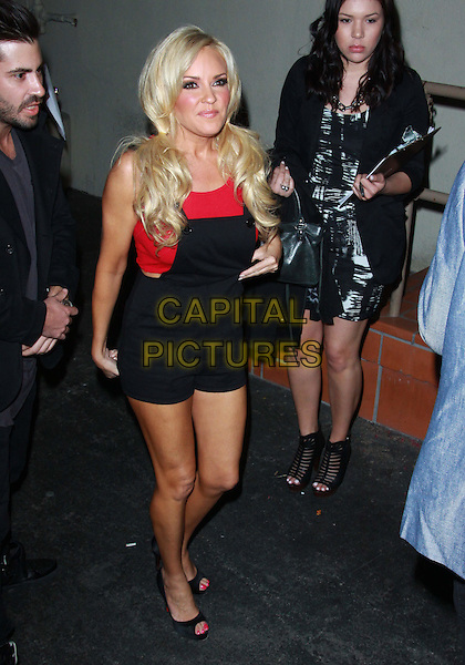 BRIDGET MARQUARDT.Attending Perez Hilton's Carn-Evil 32nd Birthday Party held at Paramount Studios, Los Angeles, California, USA, 27th March 2010..arrivals full length black red shorts playsuit dungarees top peep toe shoes bunches hair .CAP/ADM/TC.©T.Conrad/Admedia/Capital Pictures