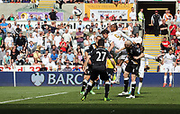 Pictured: Michu and Jonathan de Guzman of Swansea (in white) try to head the ball from a Wayne Routledge cross. Sunday 19 May 2013<br /> Re: Barclay's Premier League, Swansea City FC v Fulham at the Liberty Stadium, south Wales.