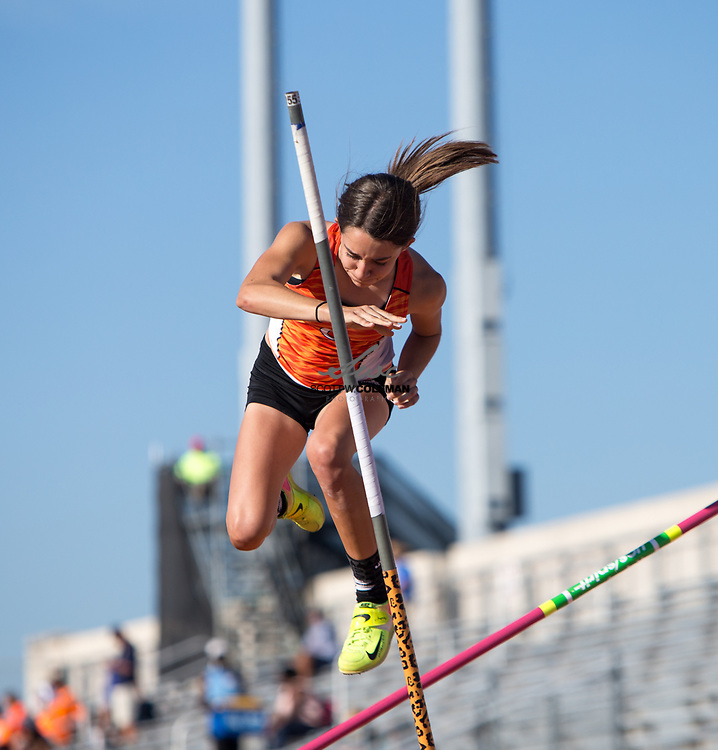 Brooklyn Goldsmith of Orangefield High School competes in the Class 4A pole vault event at the UIL State Track and Field Meet at Mike A. Myers Stadium in Austin, Texas, on Saturday, May 13, 2017.
