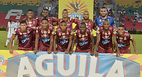 IBAGUÉ- COLOMBIA , 27-03-2018:Formación del Deportes Tolima.Acción de juego entre los equipos Deportes Tolima y el Deportivo Cali  durante partido por la fecha 11 de la Liga Águila I 2018 jugado en el estadio Manuel Murillo Toro de la ciudad de Ibagué. / Team of Deportes Tolima. Action game between Deportes Tolima and Deportivo Cali during match for the date 11 of the Aguila League I 2018 at Manuel Murillo Toro  stadium in Ibague city. Photo: VizzorImage  /Juan Carlos Escobar / Contribuidor