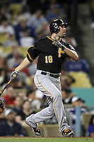 Pittsburgh Pirates second baseman Neil Walker #18 bats against the Los Angeles Dodgers at Dodger Stadium on September 16, 2011 in Los Angeles,California. Los Angeles defeated Pittsburgh 7-2.(Larry Goren/Four Seam Images)