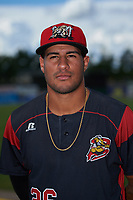Batavia Muckdogs Rony Cabrera (26) poses for a photo before a game against the West Virginia Black Bears on June 26, 2017 at Dwyer Stadium in Batavia, New York.  Batavia defeated West Virginia 1-0 in ten innings.  (Mike Janes/Four Seam Images)