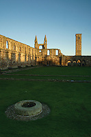 The historic remains of St Andrews Cathedral and St Rules Tower, St Andrews Fife. St Andrews is the Patron Saint of Scotland<br /> <br /> Copyright www.scottishhorizons.co.uk/Keith Fergus 2011 All Rights Reserved