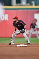 Rochester Red Wings second baseman Mike Miller (8) during an International League game against the Buffalo Bisons on August 26, 2019 at Sahlen Field in Buffalo, New York.  Buffalo defeated Rochester 5-4.  (Mike Janes/Four Seam Images)