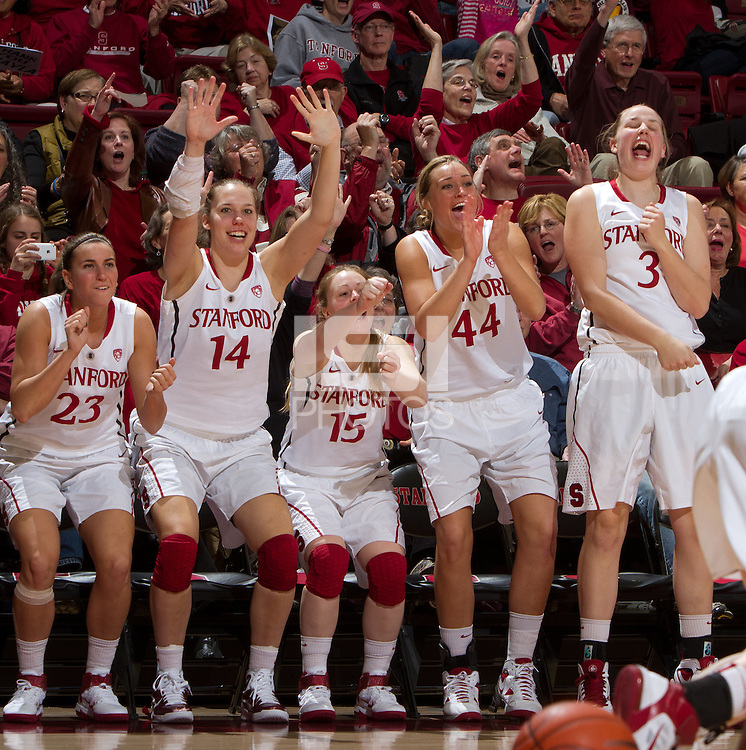 STANFORD, CA - February 26, 2011:  Players celebrate a score in Stanford's 99-60 victory over Oregon at Stanford, California on February 26, 2011.