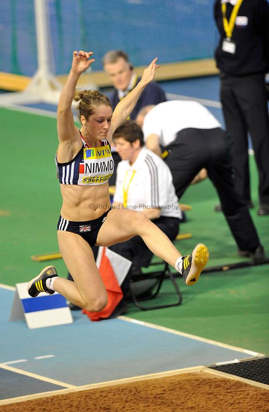 Photo: Paul Greenwood/Richard Lane Photography. Aviva World Trials & UK Championships. 14/02/2010. .Jade Nimmo in the Womens Long Jump.