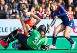 ROTTERDAM - Lieke Hulsen (Ned) stuit op /  tijdens de Pro League hockeywedstrijd dames, Nederland-USA  (7-1) .   COPYRIGHT  KOEN SUYK