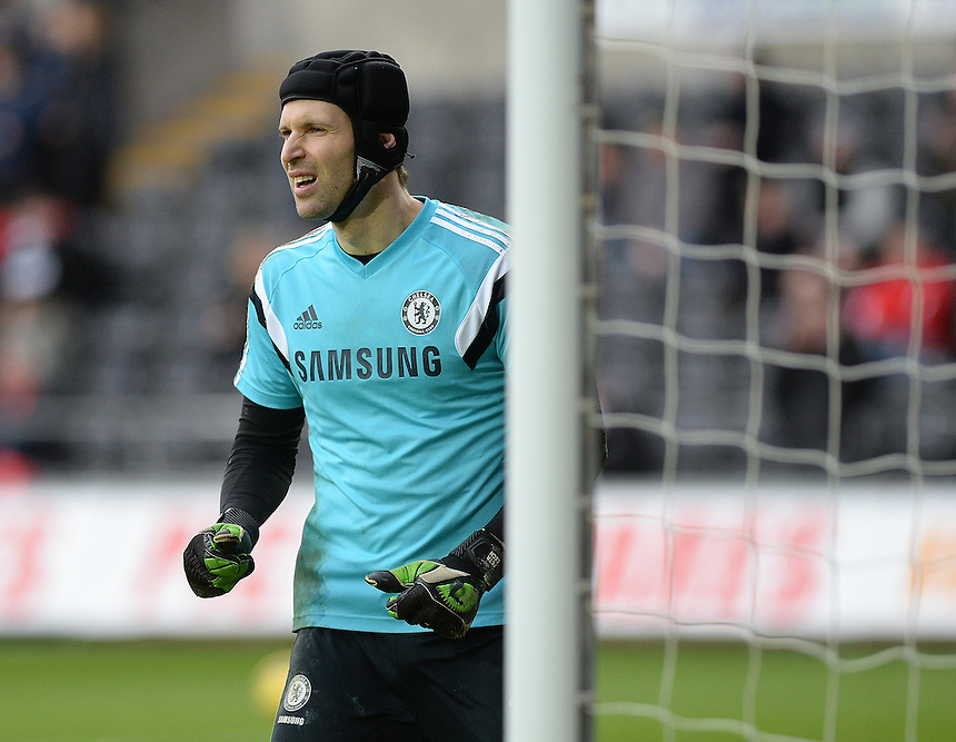 Chelsea's Petr Cech during the pre-match warm-up <br /> <br /> Photographer /Ashley CrowdenCameraSport<br /> <br /> Football - Barclays Premiership - Swansea City v Chelsea - Saturday 17th January 2015 - Liberty Stadium - Swansea<br /> <br /> &copy; CameraSport - 43 Linden Ave. Countesthorpe. Leicester. England. LE8 5PG - Tel: +44 (0) 116 277 4147 - admin@camerasport.com - www.camerasport.com