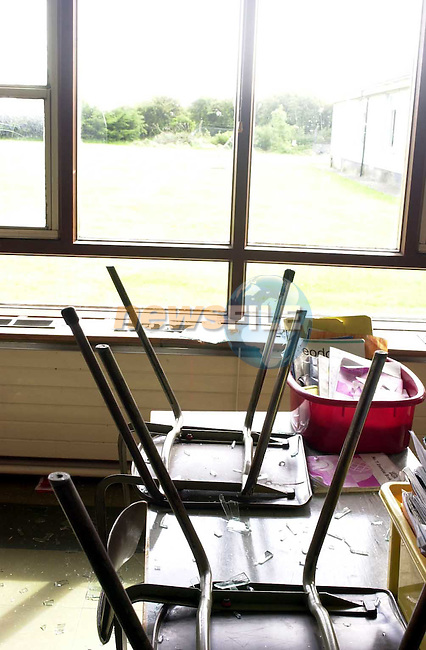 childrens desks with shattered glass over them.Picture Fran Caffrey Newsfile