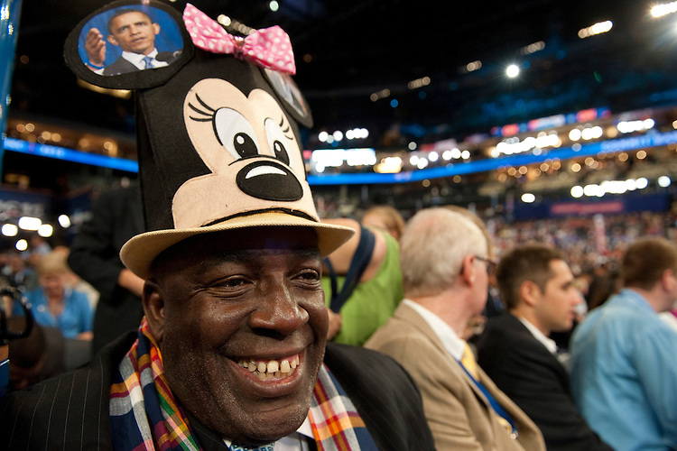 UNITED STATES - September 4 : Delegate's hats are a big deal during the Democratic National Convention at the Time Warner Cable Arena in Charlotte, North Carolina, on September 4, 2012 on the first day of floor action. The DNC is expected to nominate US President Barack Obama to run for a second term as president.(Photo By Douglas Graham/CQ Roll Call)