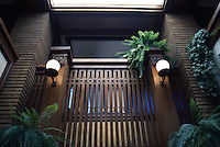 F.L. Wright: Martin House, Buffalo. Interior. The skylight, as I remember, is not original. This is the view a few steps inside the front door.   Photo '88.