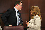 Nevada Sen. Ben Kieckhefer, R-Reno, and Assembly Minority Leader Marilyn Kirkpatrick, D-North Las Vegas, work in committee at the Legislative Building in Carson City, Nev., on Wednesday, May 20, 2015.<br /> Photo by Cathleen Allison