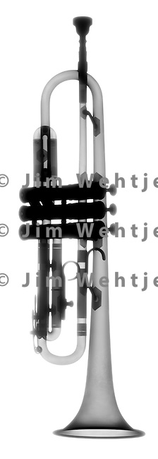 X-ray image of a trumpet (black on white) by Jim Wehtje, specialist in x-ray art and design images.