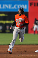 Norfolk Tides outfielder Xavier Avery #2 runs the bases after hitting a lead off home run during a game against the Empire State Yankees in the first ever Triple-A contest to be held at Dwyer Stadium on April 20, 2012 in Batavia, New York.  (Mike Janes/Four Seam Images)