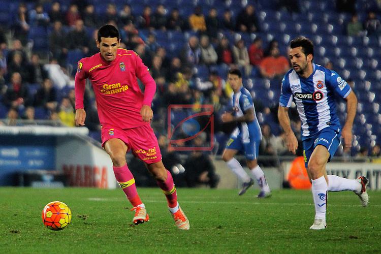 League BBVA 2015/2016 -Game: 16.<br /> RCD Espanyol vs UD Las Palmas: 1-0.<br /> Vicente Gomez vs Victor Sanchez.