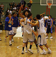 St Patricks College celebrates victory during the NZ Secondary Schools Basketball Championships match between Fraser High School and St Patricks College at Arena Manawatu, Palmerston North, New Zealand on Saturday 4 October 2008. Photo: Dave Lintott / lintottphoto.co.nz