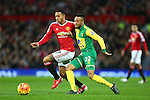 Memphis Depay of Manchester United battles Norwich's Nathan Redmond - Manchester United vs Norwich City - Barclays Premier League - Old Trafford - Manchester - 19/12/2015 Pic Philip Oldham/SportImage