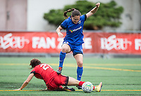 Seattle, WA - Saturday Aug. 27, 2016: Hayley Raso, Kendall Fletcher during a regular season National Women's Soccer League (NWSL) match between the Seattle Reign FC and the Portland Thorns FC at Memorial Stadium.