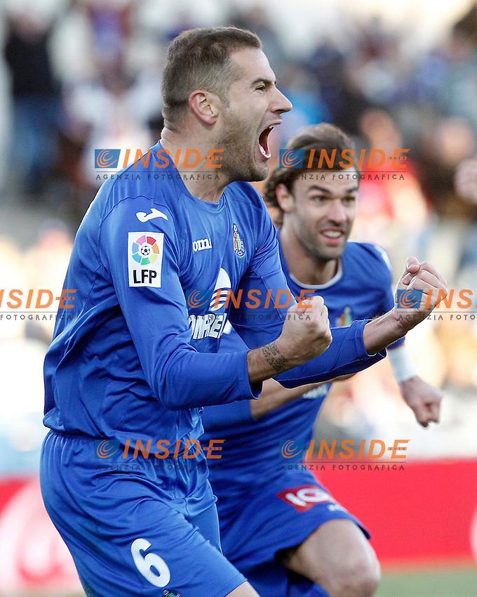 Getafe's Alberto Lopo (l) and Juan Valera celebrate goal during La Liga match.December 01,2012. (ALTERPHOTOS/Acero) .Getafe 1/12/2012.Football Calcio 2012/2013 La Liga.Getafe Vs Malaga.Foto Alterphotos / Insidefoto.ITALY ONLY