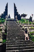 Bali, Karangasem, Besakih. The Mother Temple of Besakih, or Pura Besakih. A stairway leads up to a split gate.