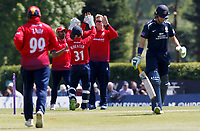 Simon Harmer of Essex celebrates taking the wicket of Nick Gubbins during Middlesex vs Essex Eagles, Royal London One-Day Cup Cricket at Radlett Cricket Club on 17th May 2018