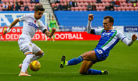 Leeds United's Pablo Hernandez takes on Wigan Athletic's Kal Naismith<br /> <br /> Photographer Alex Dodd/CameraSport<br /> <br /> The EFL Sky Bet Championship - Wigan Athletic v Leeds United - Sunday 4th November 2018 - DW Stadium - Wigan<br /> <br /> World Copyright &copy; 2018 CameraSport. All rights reserved. 43 Linden Ave. Countesthorpe. Leicester. England. LE8 5PG - Tel: +44 (0) 116 277 4147 - admin@camerasport.com - www.camerasport.com