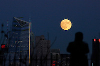 JERSEY CITY, NJ - NOVEMBER 16: A supermoon rises over New York City on November 13, 2016. The supermoon will venture to its closest point in 68 years, leaving only 221,524 miles (356,508 km) between Earth and the moon. Photo by VIEWpress/Kena Betancur