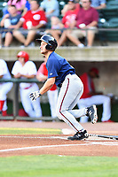 Elizabethton Twins Anthony Prato (12) runs to first base during a game against the Greenville Reds at Pioneer Park on June 29, 2019 in Greeneville, Tennessee. The Twins defeated the Reds 8-1. (Tony Farlow/Four Seam Images)