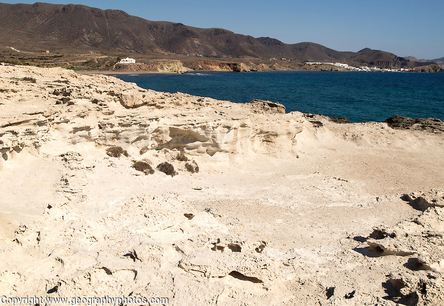Fossilised sand dune rock structure, Los Escullos, Cabo de Gata natural park, Almeria, Spain