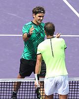 www.acepixs.com<br /> <br /> April 2 2017, Key Biscayne<br /> <br /> Roger Federer (L) of Switzerland defeated Rafael Nadal of Spain in the Men's Finals on day 14 of the Miami Open at Crandon Park Tennis Center on April 2, 2017 in Key Biscayne, Florida.<br /> <br /> By Line: Solar/ACE Pictures<br /> <br /> ACE Pictures Inc<br /> Tel: 6467670430<br /> Email: info@acepixs.com<br /> www.acepixs.com