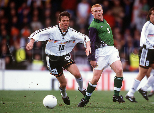 27.03.1999  Lothar Mattheus (Ger) challenged by Neil Lennon (N Irleland); N Irleland versus germany 0:3, Euro 1999, Qualification game