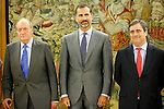 King Juan Carlos of Spain and Prince Felipe of Spain recive in audience to COI representation for candidature of Madrid 2020 Olympic Games in a Zarzuela Place in Madrid. In the pic: King Juan Carlos of Spain, Prince Felipe of Spain and Miguel Cardenal.  September 10, 2013. (ALTERPHOTOS/Caro Marin)
