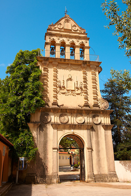 Bell Tower and gateway of the Othodox Nunery of Omala, the shrine of  St. Gerasimos of Cephalonia [ 1509 ]. Kefalonia, Ionian Islands, Greece.