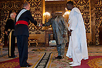 Presentation of credentials from Ambassadors to The King of Spain Juan Carlos I in the credentials room of the Royal Palace. In the picture Mr. Bala Garba-Jahumpa, Ambassador from Gambia Republic introducing his diplomatic to to The King of Spain Juan Carlos I .June 21,2012. (ALTERPHOTOS/Ricky)