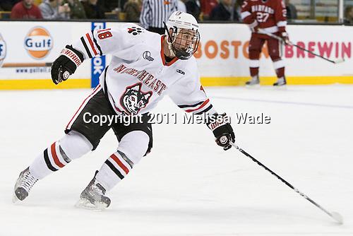 Mike McLaughlin (Northeastern - 18) - The Northeastern University Huskies defeated the Harvard University Crimson 4-0 in their Beanpot opener on Monday, February 7, 2011, at TD Garden in Boston, Massachusetts.