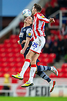 11th January 2020; Bet365 Stadium, Stoke, Staffordshire, England; English Championship Football, Stoke City versus Milwall FC; Nick Powell of Stoke City leaps for the header - Strictly Editorial Use Only. No use with unauthorized audio, video, data, fixture lists, club/league logos or 'live' services. Online in-match use limited to 120 images, no video emulation. No use in betting, games or single club/league/player publications