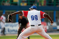 27 September 2009: Pedro Lazo of Cuba pitches against Team USA during the 2009 Baseball World Cup gold medal game won 10-5 by Team USA over Cuba, in Nettuno, Italy.