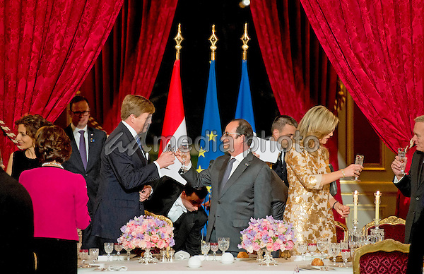 10 March 2016 - Paris, France - Queen Maxima and King Willem-Alexander with Francois Hollande during the state banquet at the Palais de Elysee on the 1st day of the 2 day state visit to France. Photo Credit: PPE/face to face/AdMedia