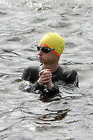 05 JUN 2005 - BALA, NORTH WALES, UK - A competitor waits for his wave start at the British Middle Distance Triathlon Championships. (PHOTO (C) NIGEL FARROW)