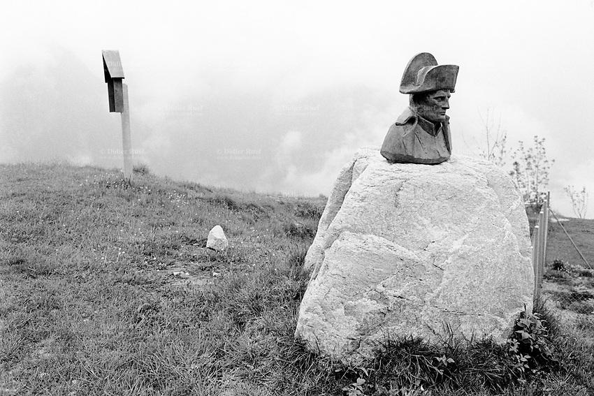 Switzerland. Canton Ticino. Malvaglia. Val di Blenio (Blenio's valley).  A bust of Napoleon Bonaparte (1769 - 1821), Emperor of France, stands alone on a rock. © 2004 Didier Ruef
