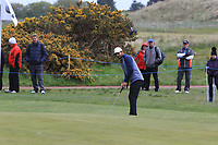 Shubhankar Sharma (IND) on the 4th green during Round 1 of the Betfred British Masters 2019 at Hillside Golf Club, Southport, Lancashire, England. 09/05/19<br /> <br /> Picture: Thos Caffrey / Golffile<br /> <br /> All photos usage must carry mandatory copyright credit (© Golffile | Thos Caffrey)