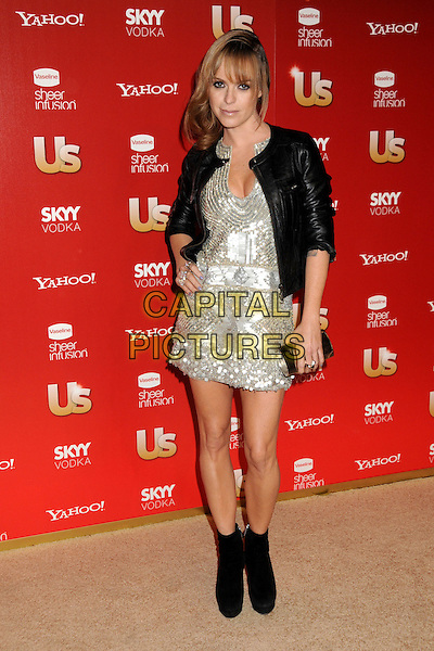 TARYN MANNING.US Weekly's Hot Hollywood Party 2009 held at Voyeur, West Hollywood, California, USA..November 18th, 2009.full length black ankle boots leather jacket silver sequins sequined dress hand on hip.CAP/ADM/BP.©Byron Purvis/AdMedia/Capital Pictures.