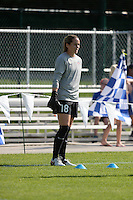 Kansas City, MO - Saturday July 16, 2016: Kelsey Wys prior to a regular season National Women's Soccer League (NWSL) match between FC Kansas City and the Washington Spirit at Swope Soccer Village.