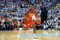 CHAPEL HILL, NC - JANUARY 11: Al-Amir Dawes #2 of Clemson University brings the ball up the court during a game between Clemson and North Carolina at Dean E. Smith Center on January 11, 2020 in Chapel Hill, North Carolina.