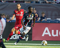 Foxborough, Massachusetts - September 23, 2017:  The New England Revolution (blue/white) beat the Toronto FC (red) 2-1 in a Major League Soccer (MLS) match at Gillette Stadium.